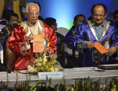 Chancellor inaugurating CBCS UG level English Honours book in Convocation 2018